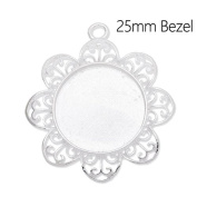 20pcs/lot Silver Plated Lace Pendant Trays fit 25mm Cabochon