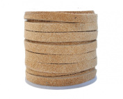 Genuine Flat Suede Leather Cord, 3.0 millimetre Natural, 10 Metre Spool