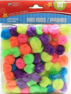 (Pack of 2) Crafter's Square 80 Count Multi-Colour Pom Poms (Neon)