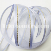 """Organza Ribbon With Side Gold Line 7/8"""" (22mm) X 25 Yards - B4024"""