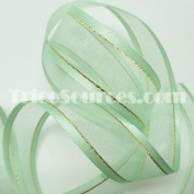 "Organza Ribbon With Side Gold Line 7/8"" (22mm) X 25 Yards - B4024"