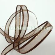 Organza Ribbon With Side Gold Line 1cm X 25 Yards - B4022