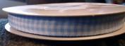 Gingham Ribbon - 1cm Wide - Soft Blue/white - 5yards