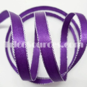 Double Faced Satin Ribbon With Silver Edge 1cm X 50 Yards - B4017