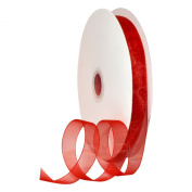 Morex Ribbon 91803/100-609 Organdy Nylon Ribbon, 1.6cm by 100-Yard, Red