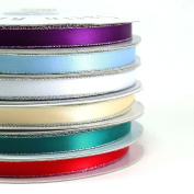 Satin Ribbons Silver Edge 1cm (Spool of 50 Yards)