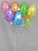 Decorated Foam Easter Egg Shaped Easter Basket Flower Picks, Set of 6