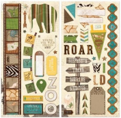 BoBunny Safari Noteworthy Chipboard Scrapbook Embellishments