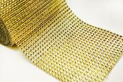 12cm 5 Yards Gold Diamond Mesh Wrap Roll Crystal Rhinestone Sparkle Ribbon