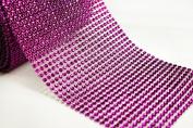 12cm 5 Yards Fuchsia Diamond Mesh Wrap Roll Crystal Rhinestone Sparkle Ribbon
