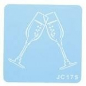 Cupcake Topper Decorating Stencil-CHAMPAGNE GLASSES-57mm