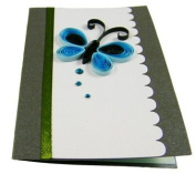 Set of 4 - Premium Quality Assorted Butterfly Small Paper Quilling Cards w/envelop - For All Occassions