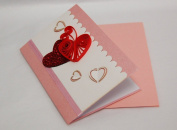 Valentines Card (Set of 4) - Premium Quality Assorted Heart Shape Small Paper Quilling Cards w/envelop - Also For All Occassions