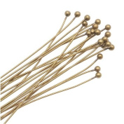 Antiqued Brass 2mm Ball Head Pins - 24 Gauge Thick 2 Inches Long