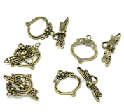 Rockin Beads Brand 30 Antique Brass Dragonfly Toggle Clasps 29x11mm 22x19mm, Sold Per Pack of 30 Sets