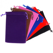 Pack of 6 Mix Colour Soft Velvet Pouches w Drawstrings for Jewellery Gift Packaging, 12x18cm