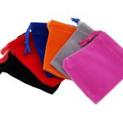 Pack of 6 Colour Soft Velvet Pouches with Drawstrings for Jewellery Gift Packaging Bags, approx 5.1cm x 7cm