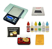 Professional Jeweller's Test Equipment - New Electronic Jewellery Scale, PuriTEST Precious Metals Acid Test Kit, 30x Loupe, Plus FREE 5gr Gold Buffalo Bar Replica!