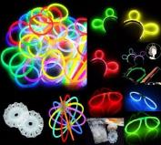 200 20cm Glow Stick Bracelets,mixed Colours,100bracelet necklace Connectors,5 Pairs of Glow Glasses Connectors,1 Glow Ball/flower Kit,5 Hair Clip Barrettes