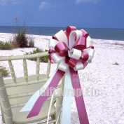 Burgundy and White Wedding Pew Pull Bows - 20cm Wide, Set of 6