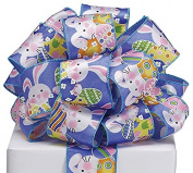 #40 Easter Bunny & Eggs Blue Satin Wired Ribbon