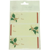 JAM Paper® - Ivory Christmas Holly Design Gift Tag Sticker Labels (10cm x 7.6cm ) - 36 labels per pack