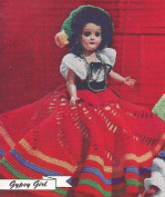 Vintage Crochet PATTERN to make - 20cm Doll Clothes Dress Skirt Blouse Hat Gypsy Girl. This is a pattern and/or instructions to make the item only.