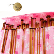 Rimobul 25cm Single Pointed Carbonised Bamboo Knitting Needles of 18 Different Sizes with Pink Pouch Case - Set of 36