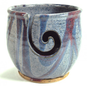 Midnight Sun Pottery Yarn Bowl - Blue Violet with Raspberry