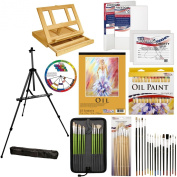US Art Supply® 70-Piece Deluxe Oil Painting Set with, Aluminium Floor Easel, Wood Drawer Table Easel, 24-Tubes Oil Colours, 23cm x 30cm Oil Painting Paper Pad, 2-each 20cm x 25cm Stretched Canvases, 2-each 28cm x 36cm Stretched Canvases, 37 Artist Bru ..