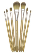 Fusion Synthetic Artist Paint Brush Set of 7 Filbert / Oval Wash Brushes By Royal and Langnickel