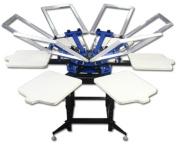 Double Rotary Manual 6-6 Colours Silk Screen Printing Press Machine Printer T-shirt Heavy Duty DIY