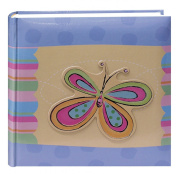 Pioneer Photo Albums 200-Pocket 3-D Striped Butterfly Applique Cover Photo Album, 10cm by 15cm
