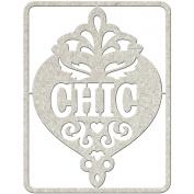 Die-Cut Grey Chipboard Word-Chic, 20cm x 8.9cm