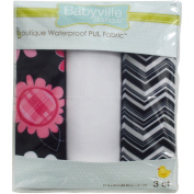 Dritz Babyville 50cm by 60cm PUL Waterproof Nappy Fabric Cuts, Black Chevron/Pink Floral, 3-Pack