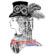 Deep Red Cling Stamp-Steampunk Lady