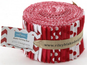 Riley Blake BASICS VARIETY RED Rolie Polie 24 6.4cm Jelly Roll Strips Quilt Fabric RP-80-24