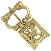 Heraldic Mediaeval Brass Costume Belt Fastener Buckle