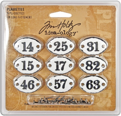 Metal Plaquettes with Fasteners by Tim Holtz Idea-ology, 9 per Pack, 3.5cm Wide, Black Numbers, TH92921
