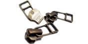 Zipperstop Wholesale YKK® Exposed YKK Fancy Zipper Slider Replacement - YKK #5 Antique Brass Slider with Bell Pull Style