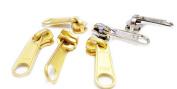 Vintage Zipper Repair Solution YKK #5 Long Pull Slider 4pcs Brass and 2pcs Aluminium