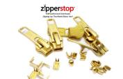 ZipperStop Wholesale Authorised Distributor YKK® Vintage Zipper Repair Solution, YKK #5 Brass Slider 5 pcs, 10 Top Stops and 5 Bottom Stops
