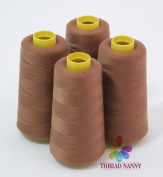 4 Large Cones (3000 yards each) of Polyester threads for Sewing Quilting Serger BROWN Colour from ThreadNanny