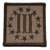 3 Percenter Symbol Threeper Head 2x2 Military Patch / Morale Patch - Coyote Brown