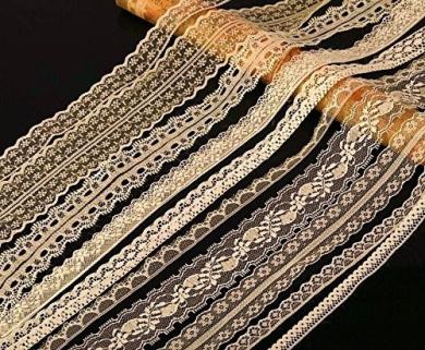 20m of Asstd Cream Vintage Lace Bridal Wedding Trim Ribbon, Craft, Card Making