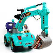 Blue Digger scooter, Ride-on excavator, Pulling cart, Pretend play construction truck by POCO DIVO