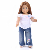 Toy Doll Clothes - 2 Piece Butterfly Shirt & Jean Set