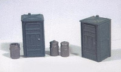 HO Scale Port-a-Potty (2) & Garbage Can (3) Set