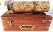 41cm Brass Ship Telescope Leather Carving Bounded with Rose Wood Box C-3102