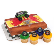 Monster Jam Officially Licenced Cake Topper and 24 Cupcake Topper Rings